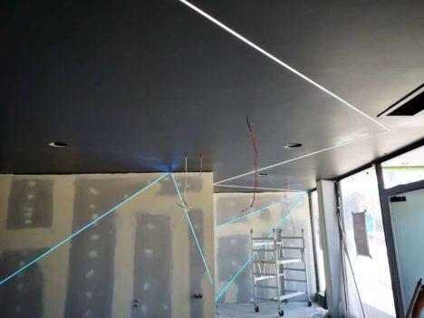 Gib ceiling with LED stripe lighting